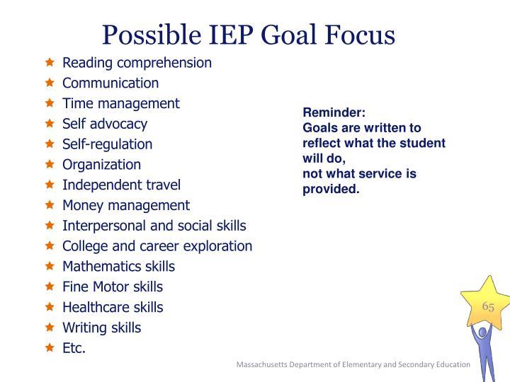 Possible IEP Goal Focus