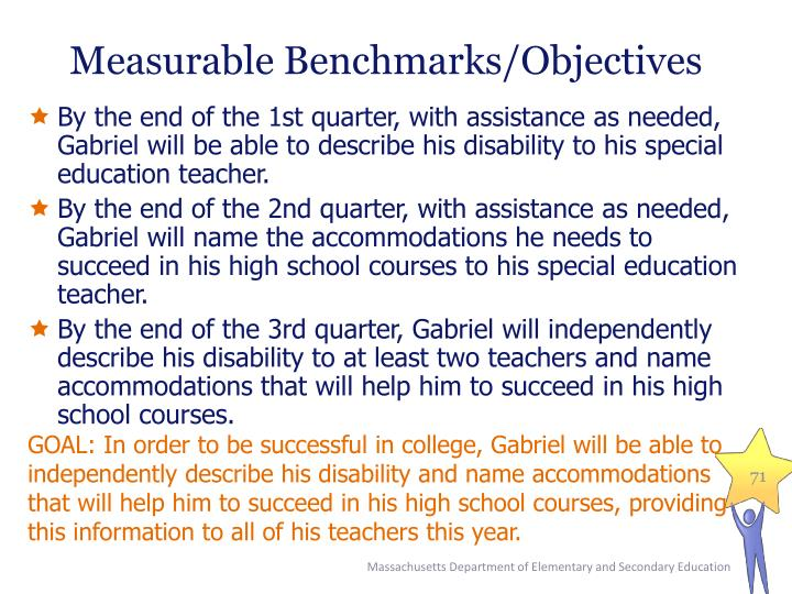 Measurable Benchmarks/Objectives