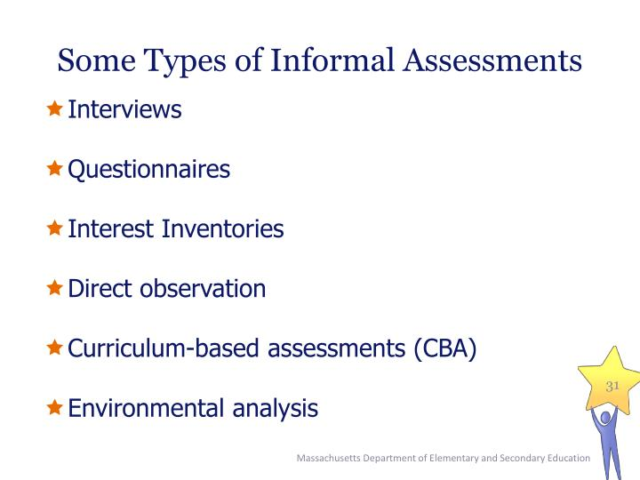 Some Types of Informal Assessments