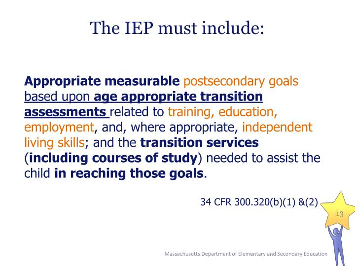 The IEP must include: