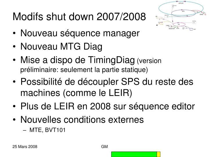 Modifs shut down 2007/2008