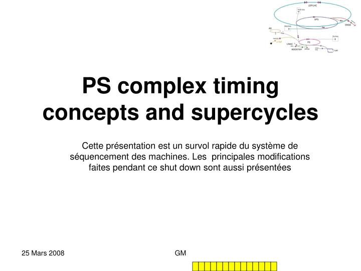 Ps complex timing concepts and supercycles