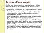 activities errors to avoid