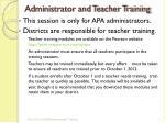administrator and teacher training