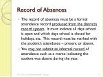 record of absences