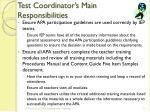 test coordinator s main responsibilities