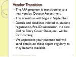 vendor transition