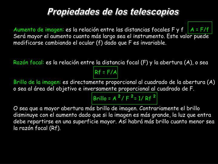 Propiedades de los telescopios