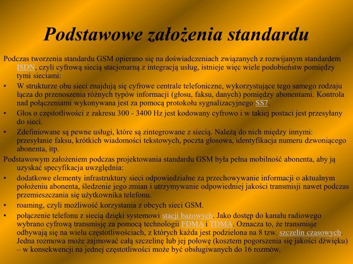 Podstawowe założenia standardu