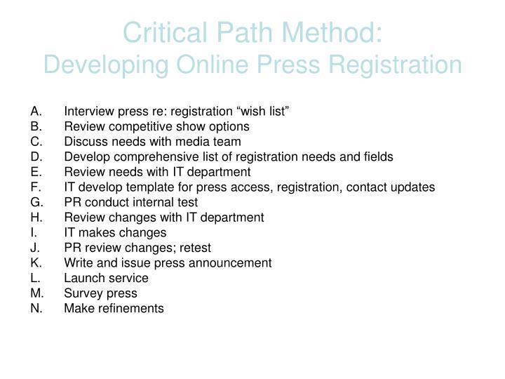 Critical Path Method: