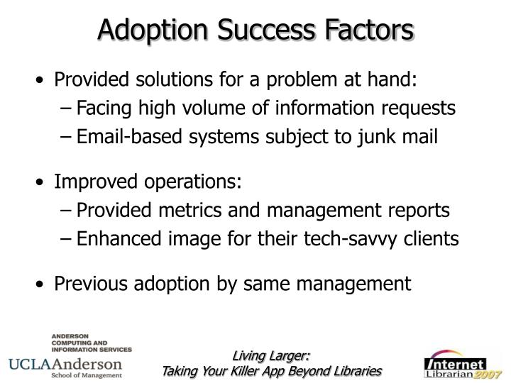 Adoption Success Factors