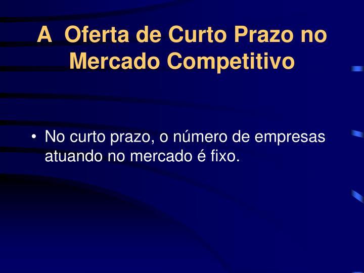 A  Oferta de Curto Prazo no Mercado Competitivo