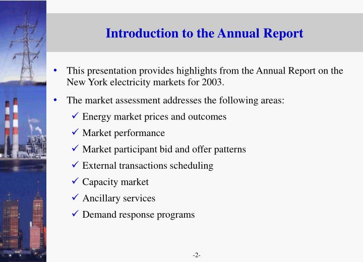 Introduction to the annual report