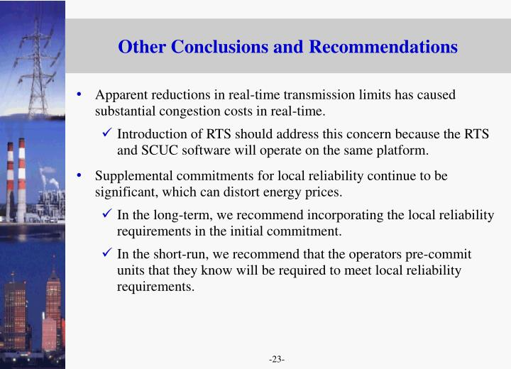 Other Conclusions and Recommendations