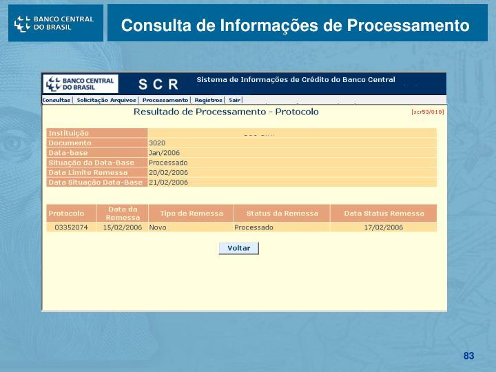 Consulta de Informações de Processamento