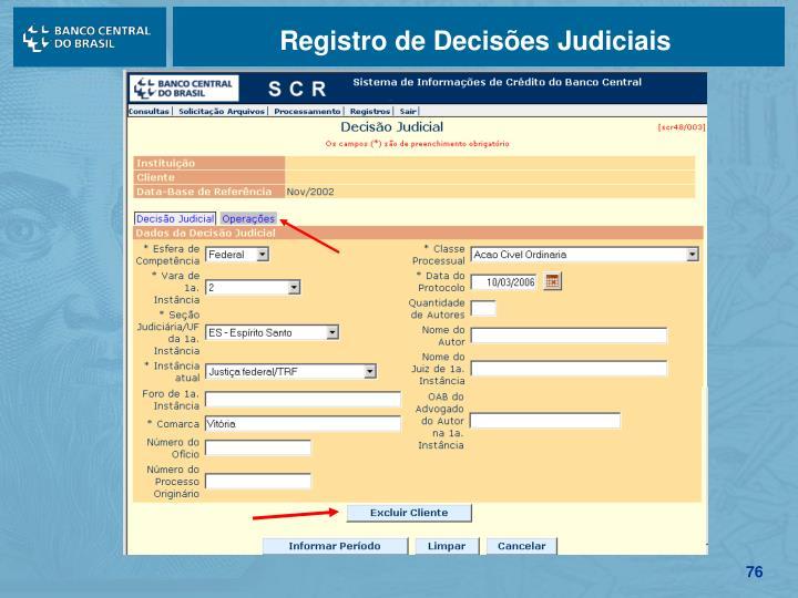 Registro de Decisões Judiciais