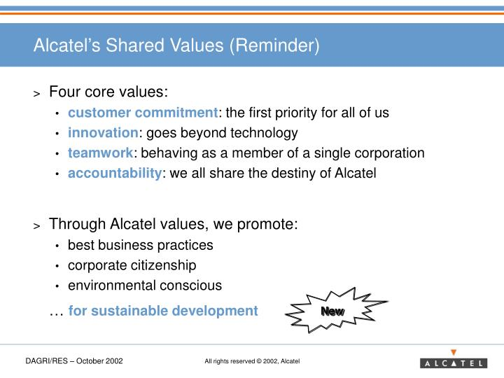 Alcatel's Shared Values (Reminder)