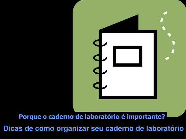 Porque o caderno de laboratório é importante?