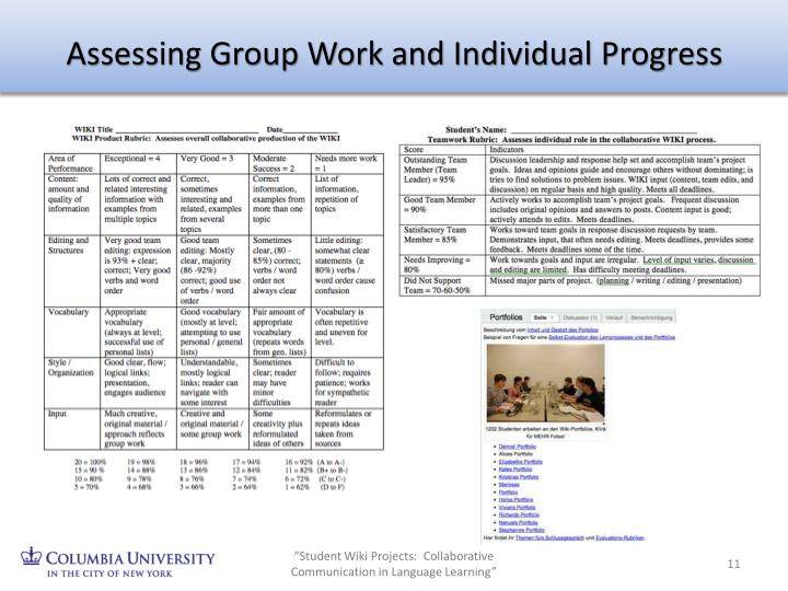 Assessing Group Work and Individual Progress