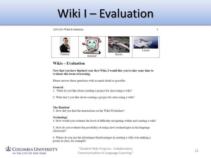 Wiki I – Evaluation