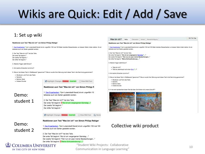 Wikis are Quick: Edit / Add / Save
