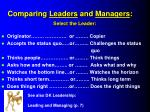 comparing leaders and managers select the leader