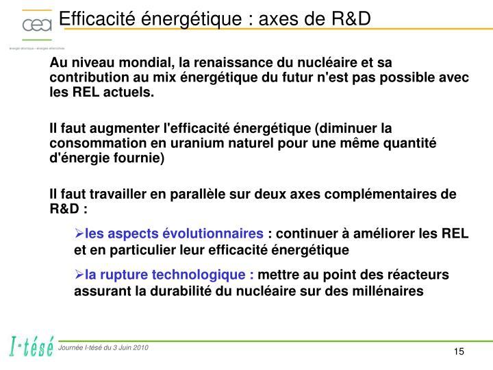 Efficacité énergétique : axes de R&D