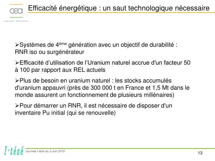 Efficacité énergétique : un saut technologique nécessaire