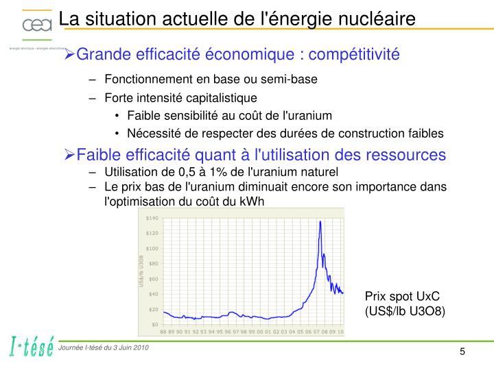 La situation actuelle de l'énergie nucléaire
