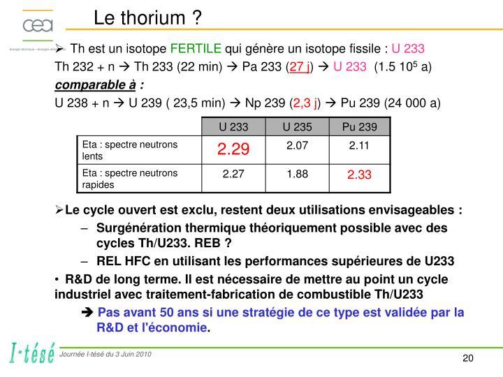 Le thorium ?