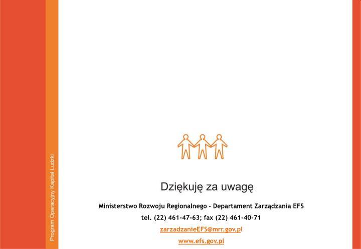 Ministerstwo Rozwoju Regionalnego - Departament Zarządzania EFS