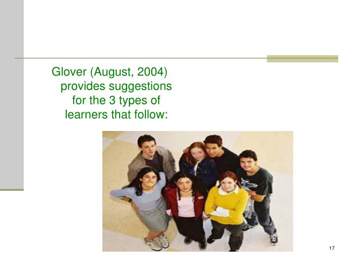 Glover (August, 2004) provides suggestions for the 3 types of learners that follow: