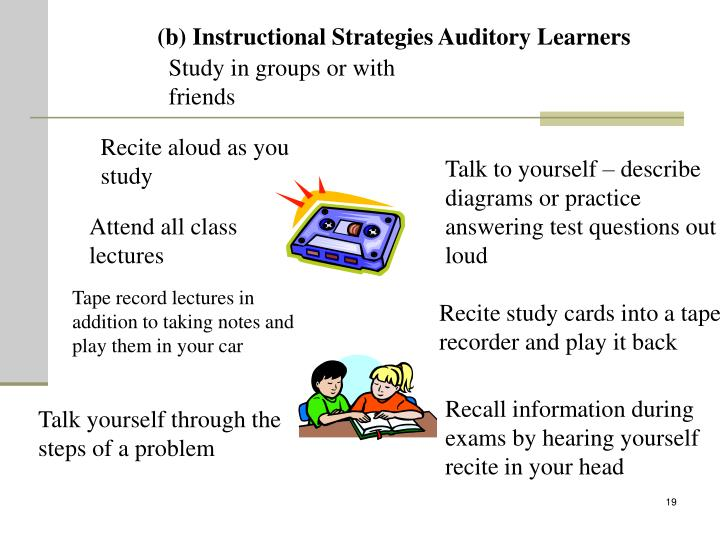 (b) Instructional Strategies Auditory Learners
