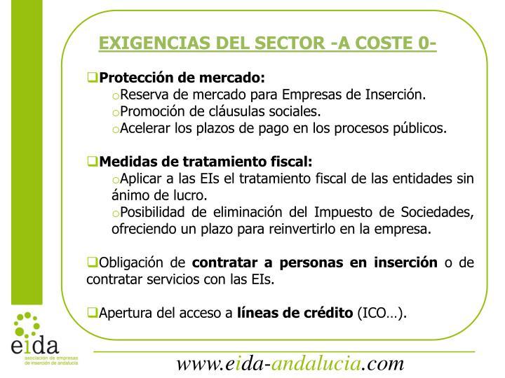 EXIGENCIAS DEL SECTOR -A COSTE 0-