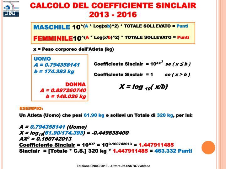 CALCOLO DEL COEFFICIENTE SINCLAIR
