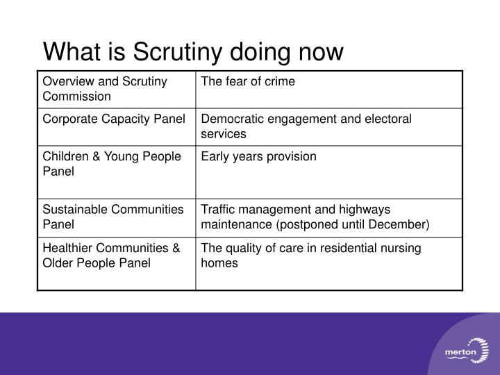 What is Scrutiny doing now