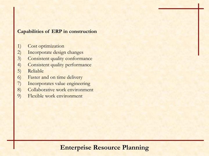 Capabilities of ERP in construction