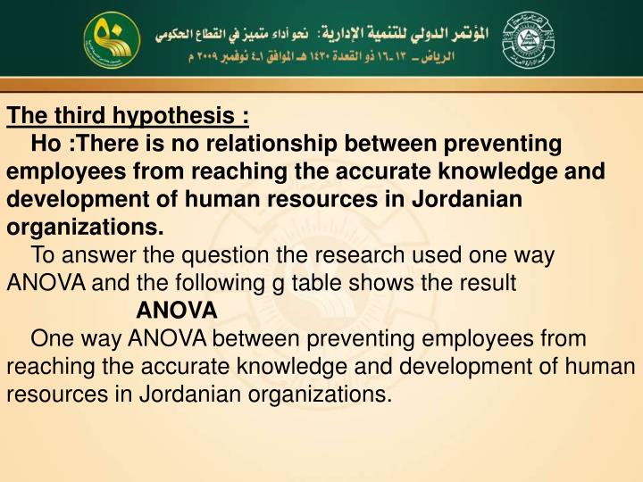 The third hypothesis :
