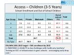 access children 3 5 years school enrollment and out of school children