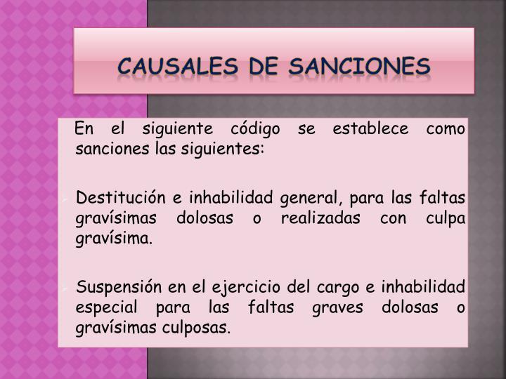 CAUSALES DE SANCIONES