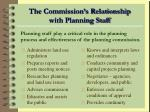 the commission s relationship with planning staff