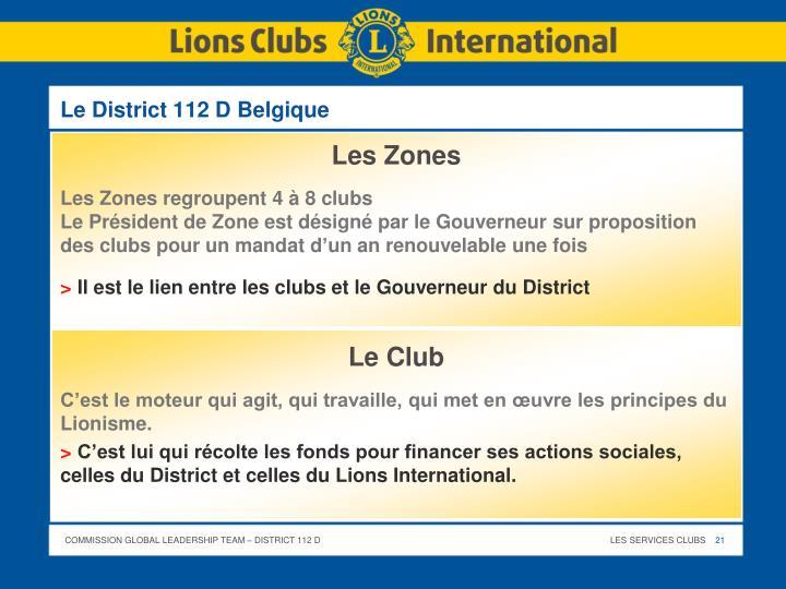 Le District 112 D Belgique