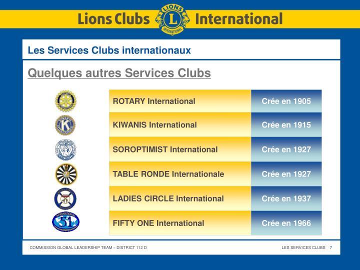 Les Services Clubs internationaux