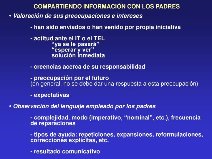 COMPARTIENDO INFORMACIÓN CON LOS PADRES