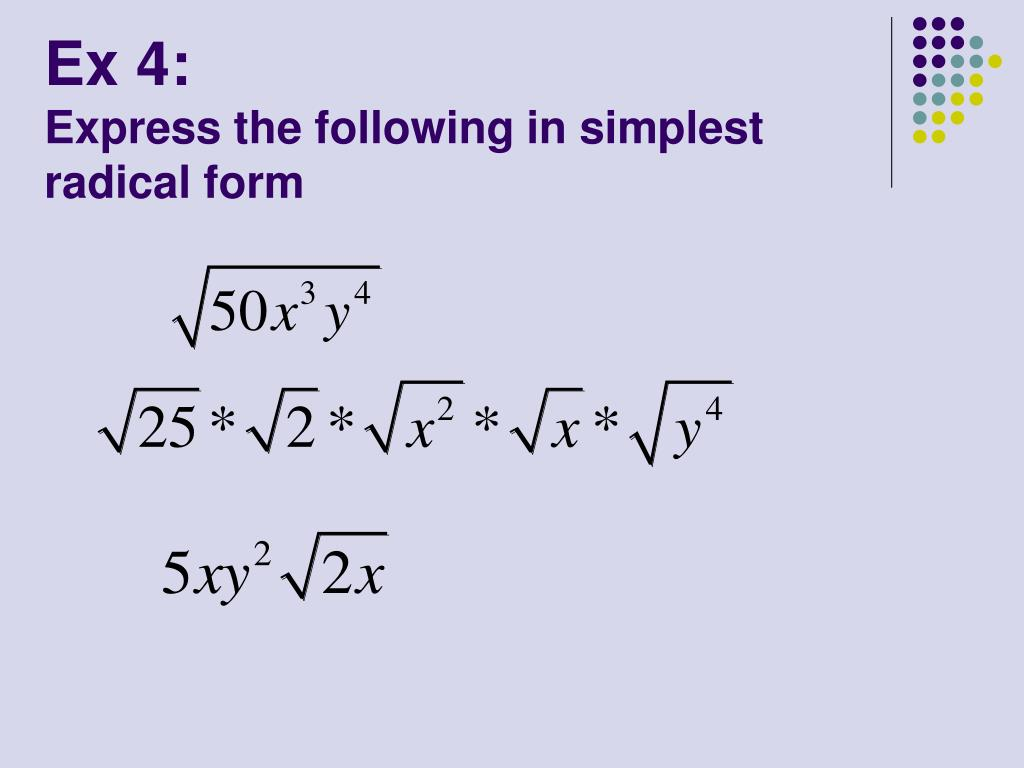 Ppt Aim How Do We Simplify Radical Expressions Powerpoint Presentation Id 4993298 You can add or subtract square roots themselves only if the values under the radical sign are equal. ppt aim how do we simplify radical