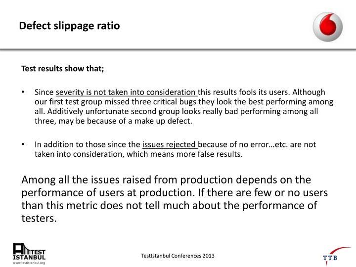 Defect slippage ratio