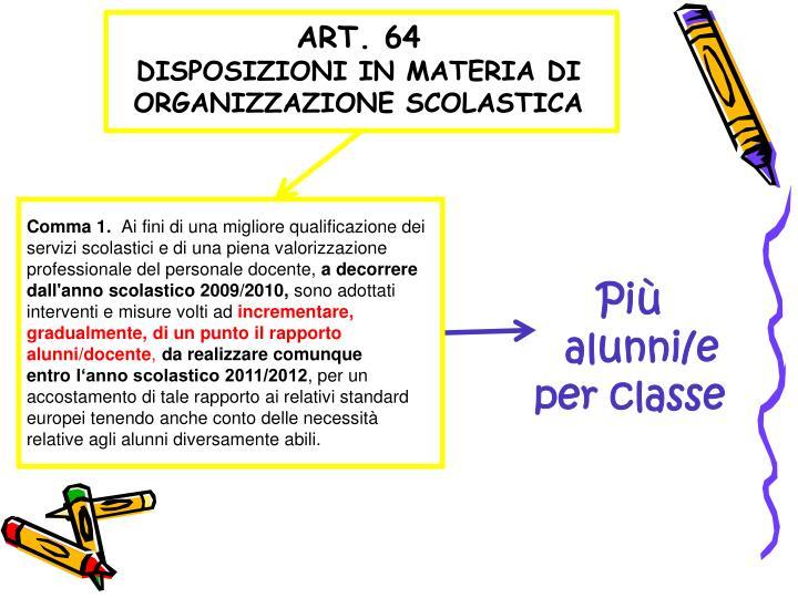 Art 64 disposizioni in materia di organizzazione scolastica