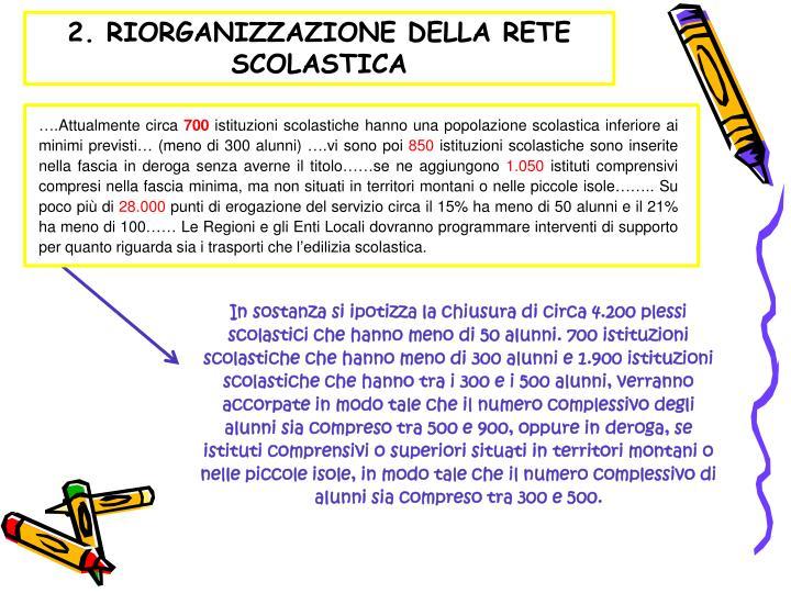 2. RIORGANIZZAZIONE DELLA RETE