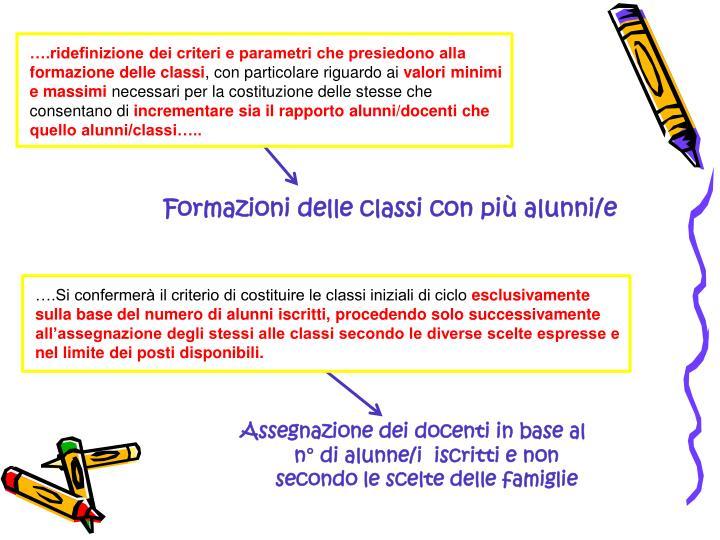 ….ridefinizione dei criteri e parametri che presiedono alla formazione delle classi