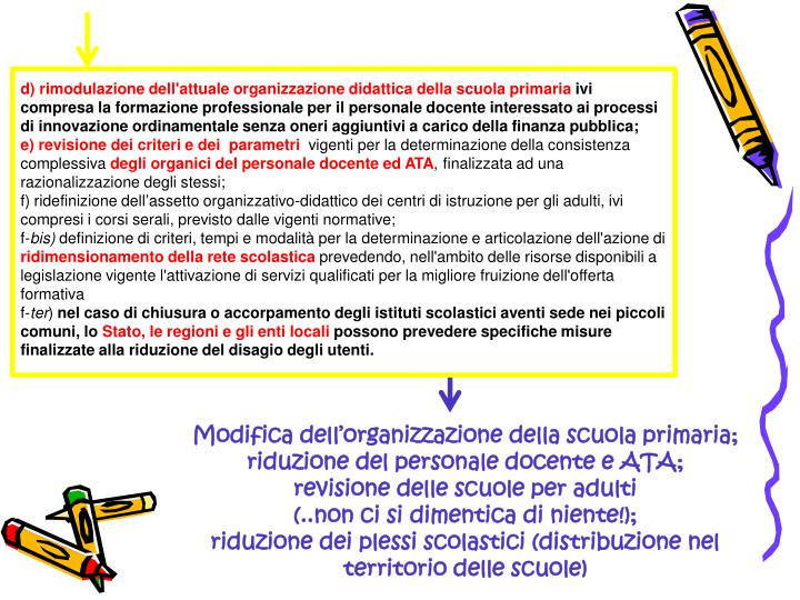 d) rimodulazione dell'attuale organizzazione didatticadella scuola primaria